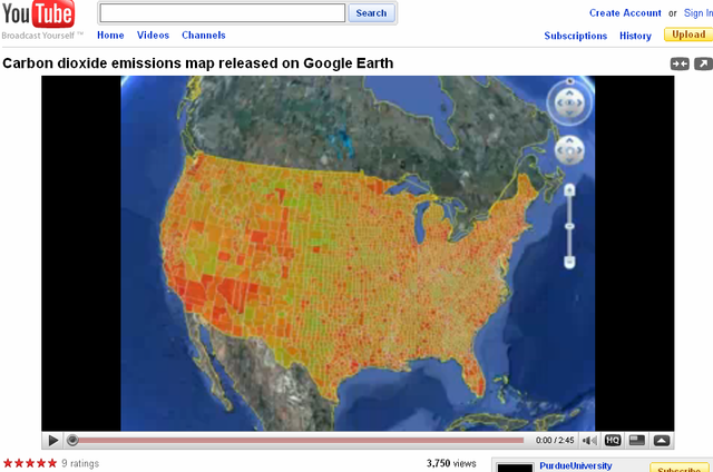 Purdue - US carbon dioxide emissions map released on Google Earth