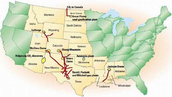 US CO2 Pipelines in Operation