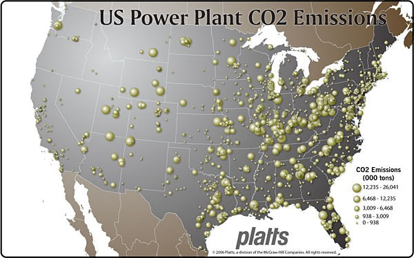 US Power Plant Emissions And CO Pipelines A Response To Climate - Coal power plants in us map