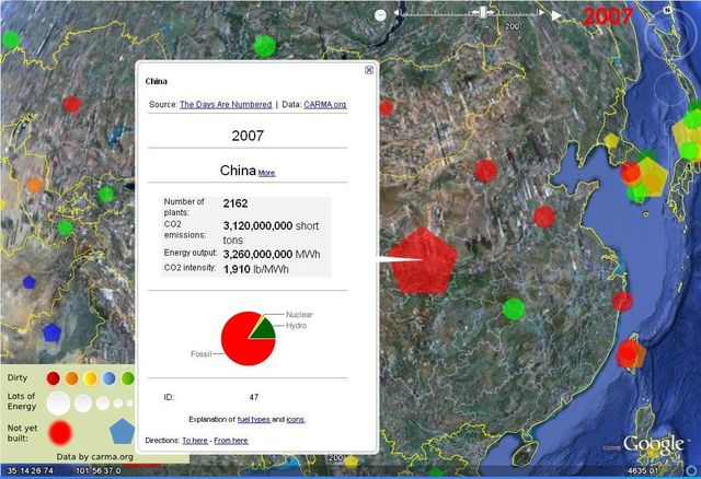 CARMA - Chinese emissions on Google Earth